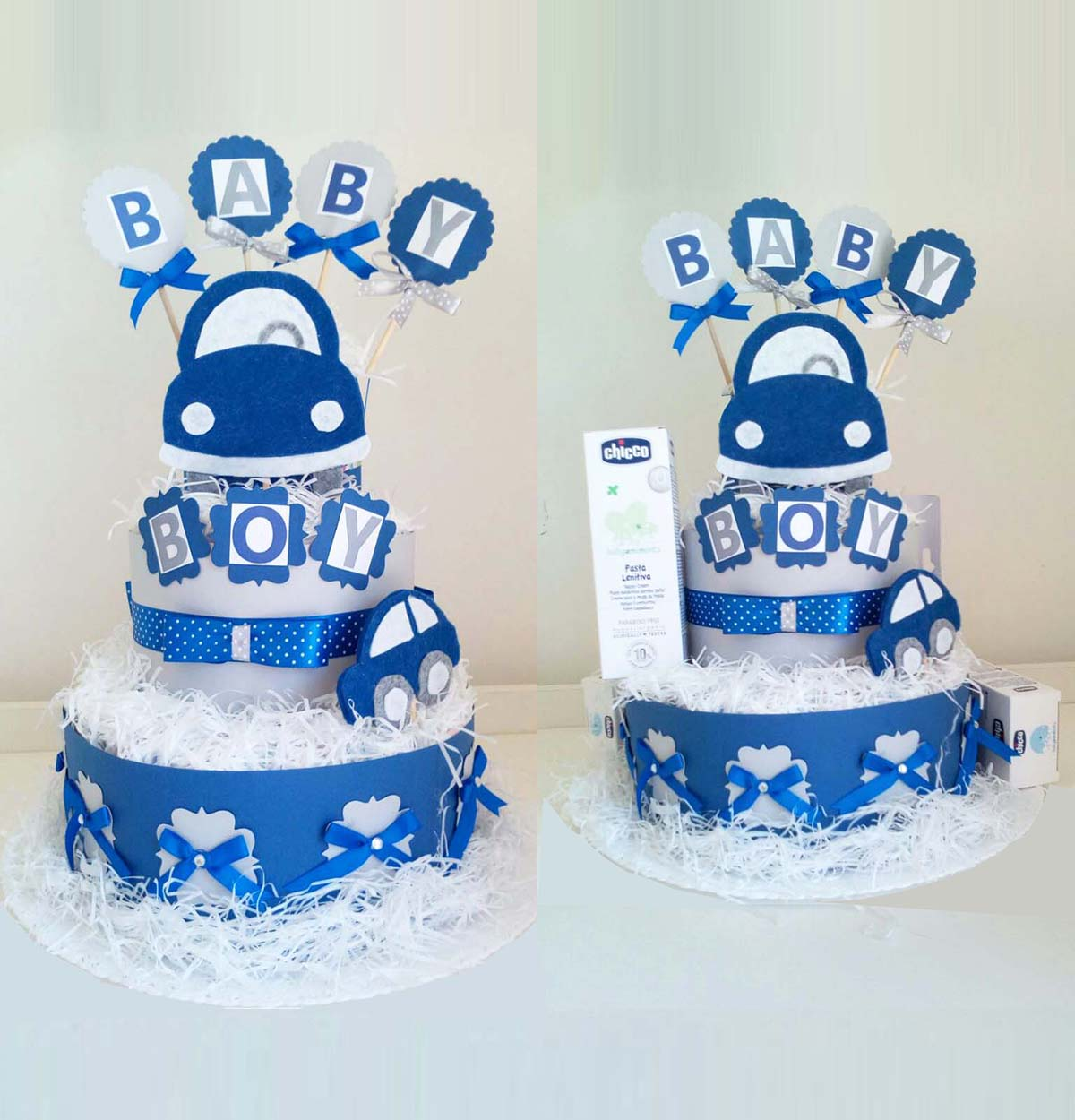 Torta Baby Boy: tre piani di Pampers.